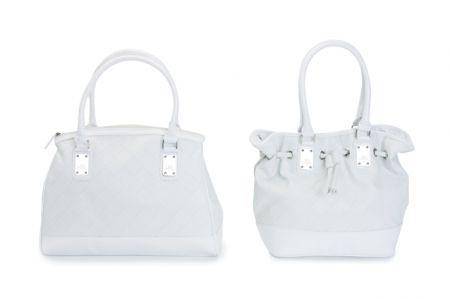 carpisa shopping in eco pelle bianca effetto intreccio