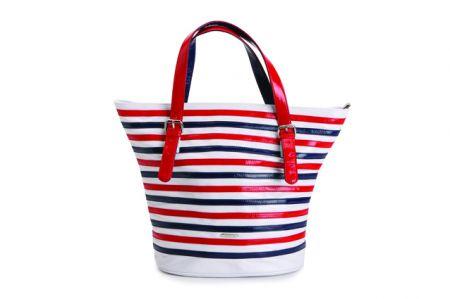 carpisa shopping media in pvc bianco a righe rosse e blu