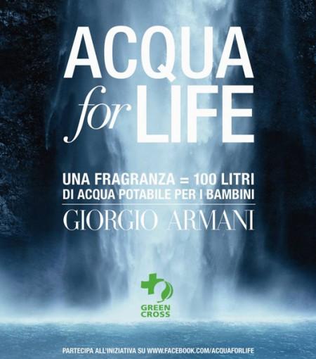 Giorgio Armani promuove il progetto Acqua for Life