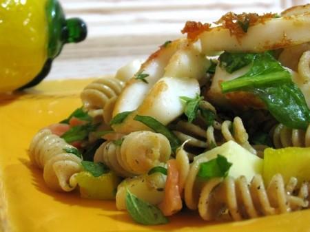 Pasta fredda integrale totano e spinacini