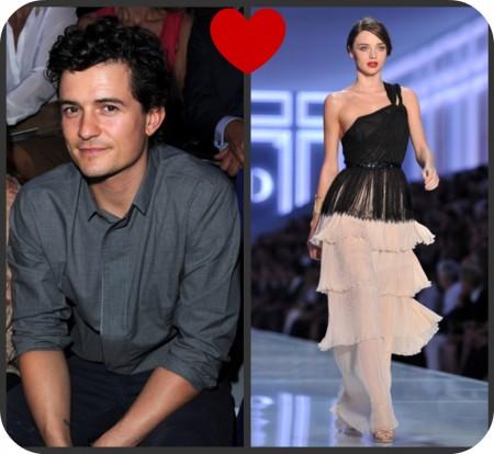 Miranda Kerr sfila per Dior a Parigi, bella come il sole, e ad ammirarla il marito Orlando Bloom