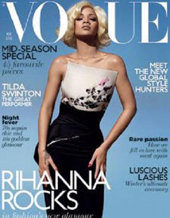 Rihanna bellissima e sensuale sulla copertina di British Vogue nel numero di Novembre 2011