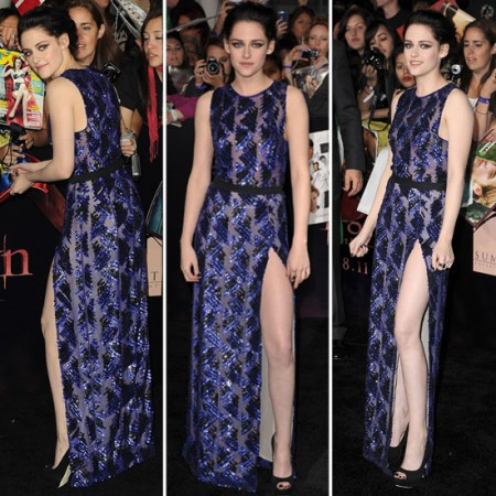 """Alla première USA di """"Breaking Dawn"""", Kristen Stewart in viola è una sensuale vampira"""