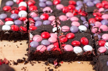 Brownies colorati san valentino