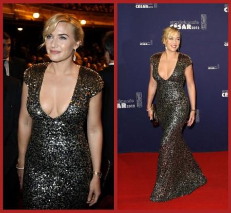 La bellezza curvy di Kate Winslet illumina gli Oscar francesi, suo il look più seducente