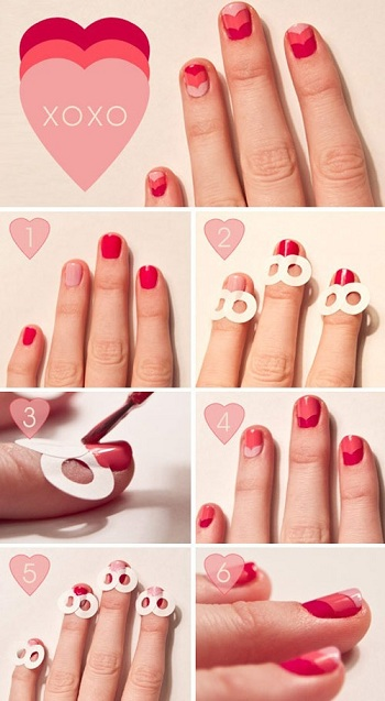 nail art cuore due cuori