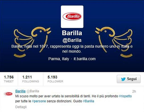 Tweet scuse Barilla