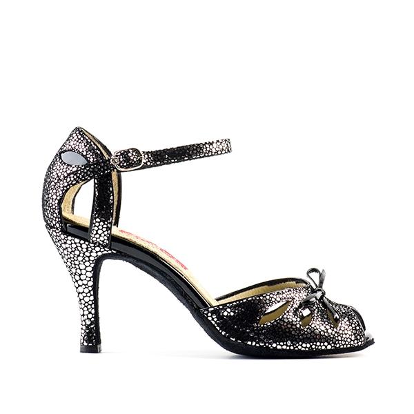 sandalo spuntato fantasia nero argento
