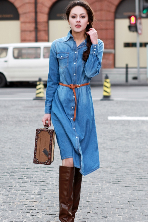 Fashion Long Denim Dress
