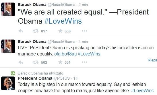Barack Obama sui matrimoni gay legali usa sentenza corte suprema