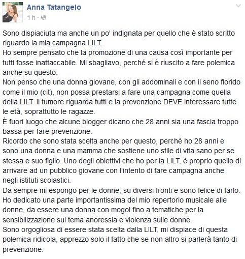 Anna Tatangelo sexy per la campagna Lilt la replica su Facebook