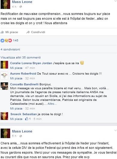 Il cugino di Patricia Rizzo tiene informati tutti su Facebook