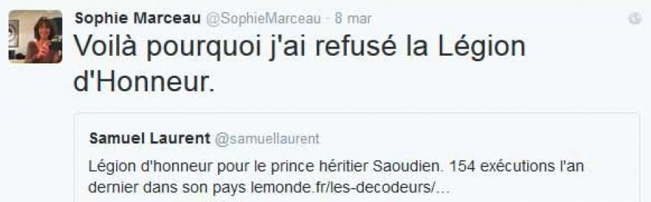 Il tweet di Sophie Marceau