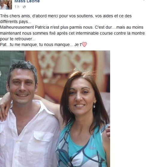 Patricia Rizzo, il cugino annuncia il suo decesso su Facebook