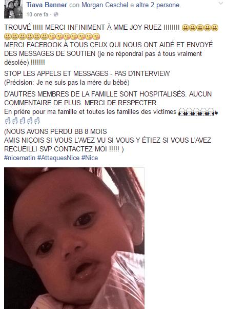 Ritrovata viva la bimba scomparsa durante la strage di Nizza