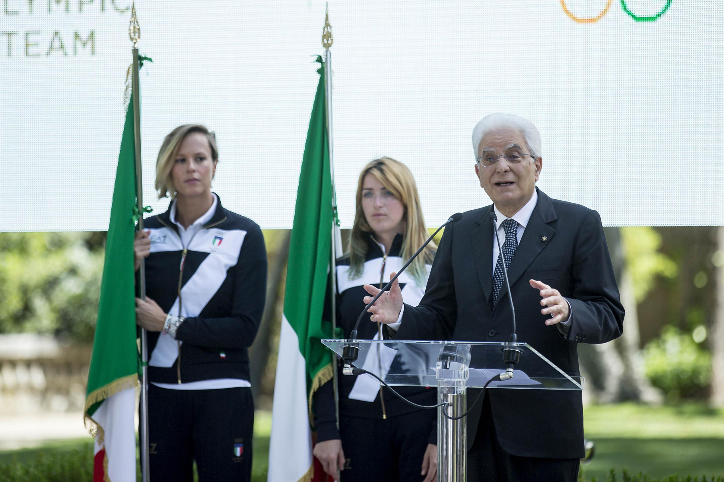 Quirinale Cerimonia di consegna della bandiera agli atleti in partenza per le olimpiadi di Rio de Janeiro