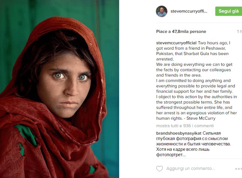 Steve McCurry esterrefatto per l'arresto di Sharbat Gula