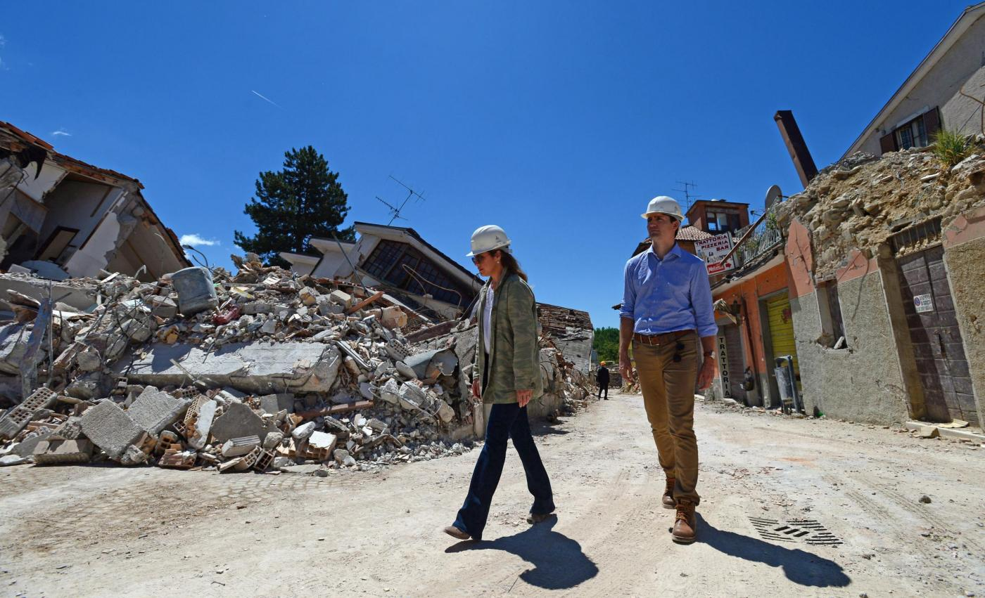 Justin Trudeau con la moglie ad Amatrice