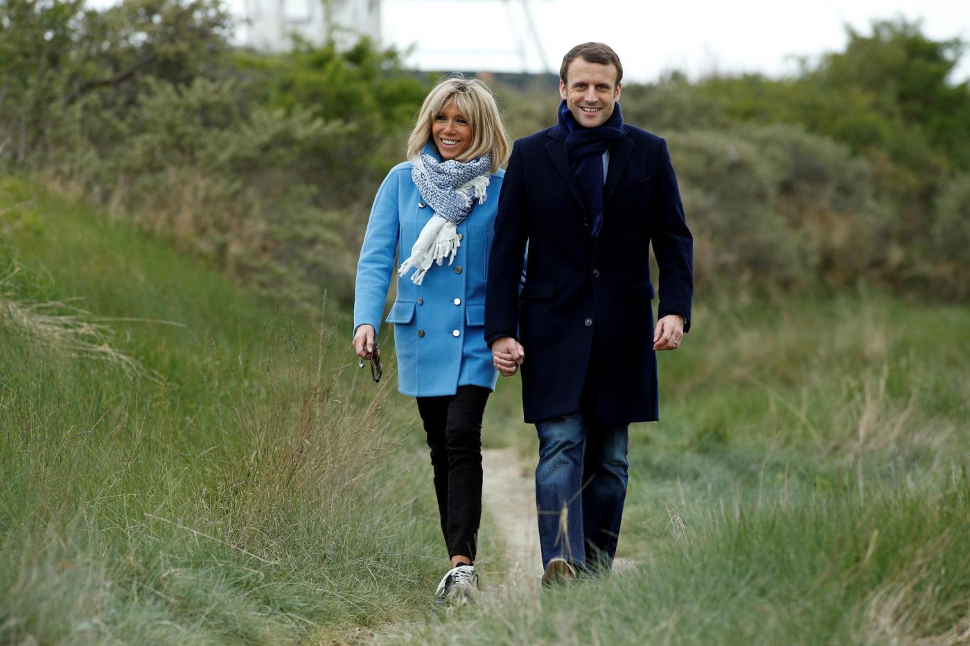 Francia, Emmanuel Macron con la moglie Brigitte Trogneux a Le Touquet