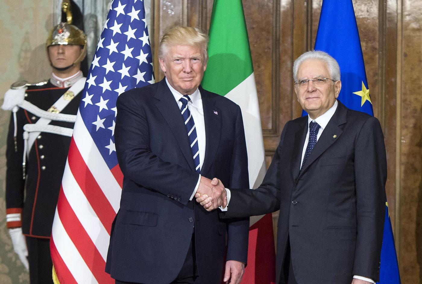 Il Presidente degli Stati Uniti Donald Trump arriva a Palazzo del Quirinale