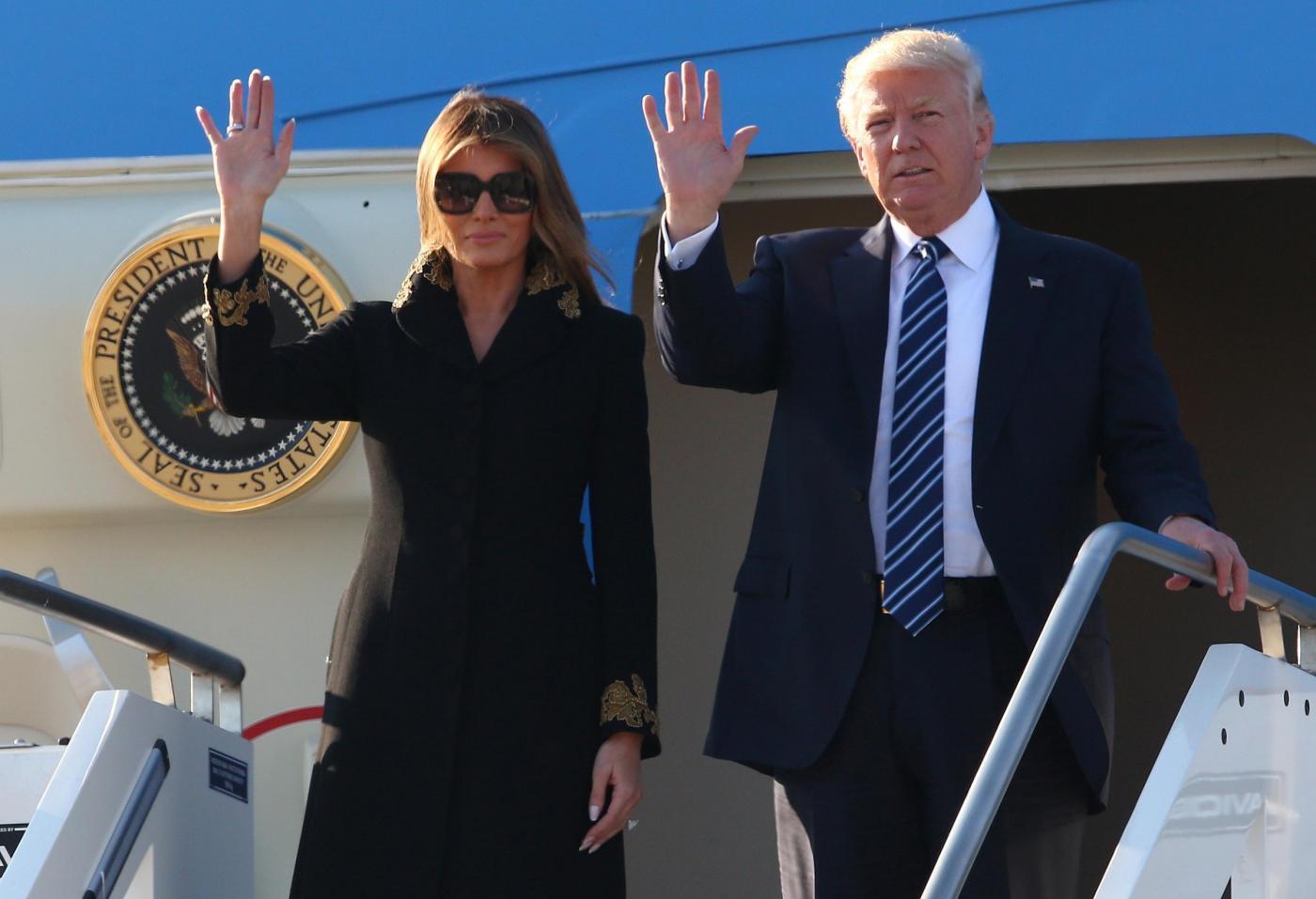 L'arrivo a Roma del Presidente Usa Trump