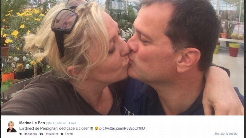 tweet bacio marine le pen louis aliot