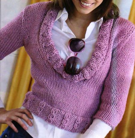 Lavori a maglia pullover rosa mélange