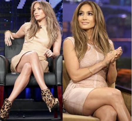 Jennifer Lopez sceglie il color cipria di Chloè e Hervé Léger by Max Azria