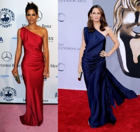 L'abito monospalla di Yves Saint Laurent sta meglio a Halle Berry o Jennifer Garner?