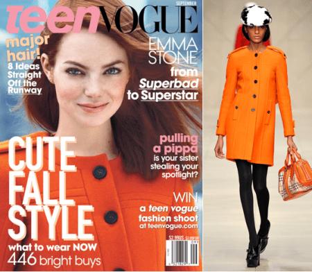 Emma Stone su Teen Vogue con un adorabile cappottino Burberry Prorsum