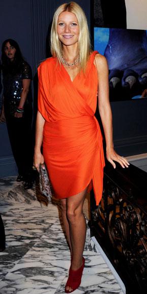 Gwyneth Paltrow veste i colori solari di Lanvin e Jimmy Choo, bellissima!