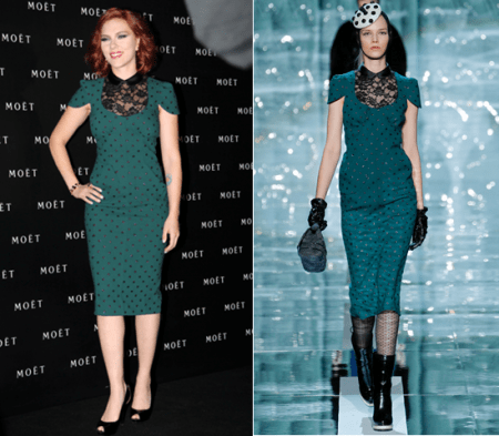 Scarlett Johansson con un abito verde petrolio di Marc Jacobs a Shanghai