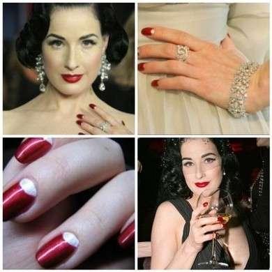 Dita Von Teese lancia un set di unghie finte, ecco come avere una perfetta half moon manicure!