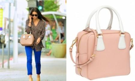 Jessica Biel con la nuova borsa bauletto Prada