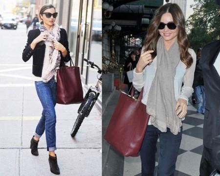 Miranda Kerr con la sua shopper bag Celine