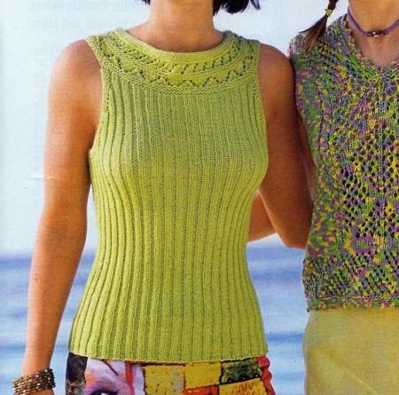 Lavori a maglia, crea una canotta a coste verde kiwi
