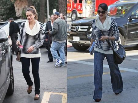 Jessica Alba e Selma Blair con lo stesso maglione Banana Republic