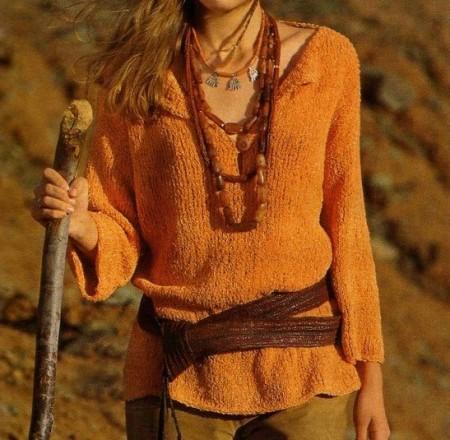 Lavori a maglia: crea un pull arancione chiaro