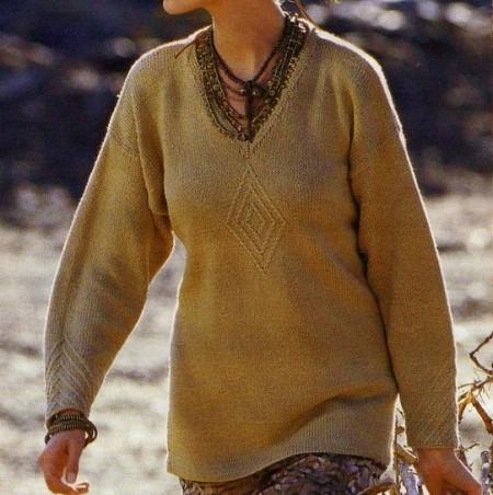 Lavori a maglia per creare un pull con scollo a V e rombo centrale