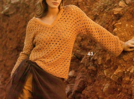 Lavori a maglia: t-shirt traforata con scollo a V