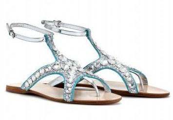 Sandali flat Miu Miu a forma di stella marina ma rivestiti di glitter e paillettes
