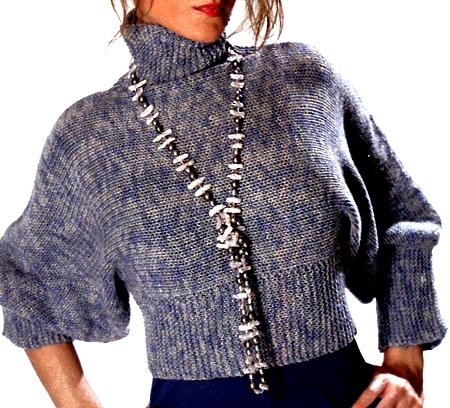 Lavori a maglia: crea un bolero azzurro melange