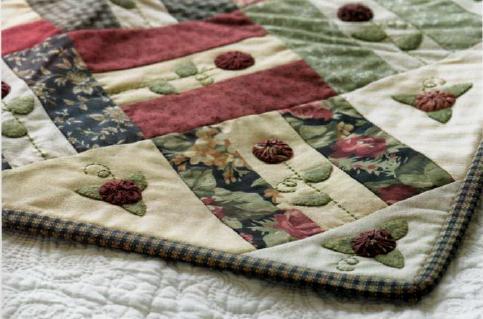 quilt patchwork con rose yo yo