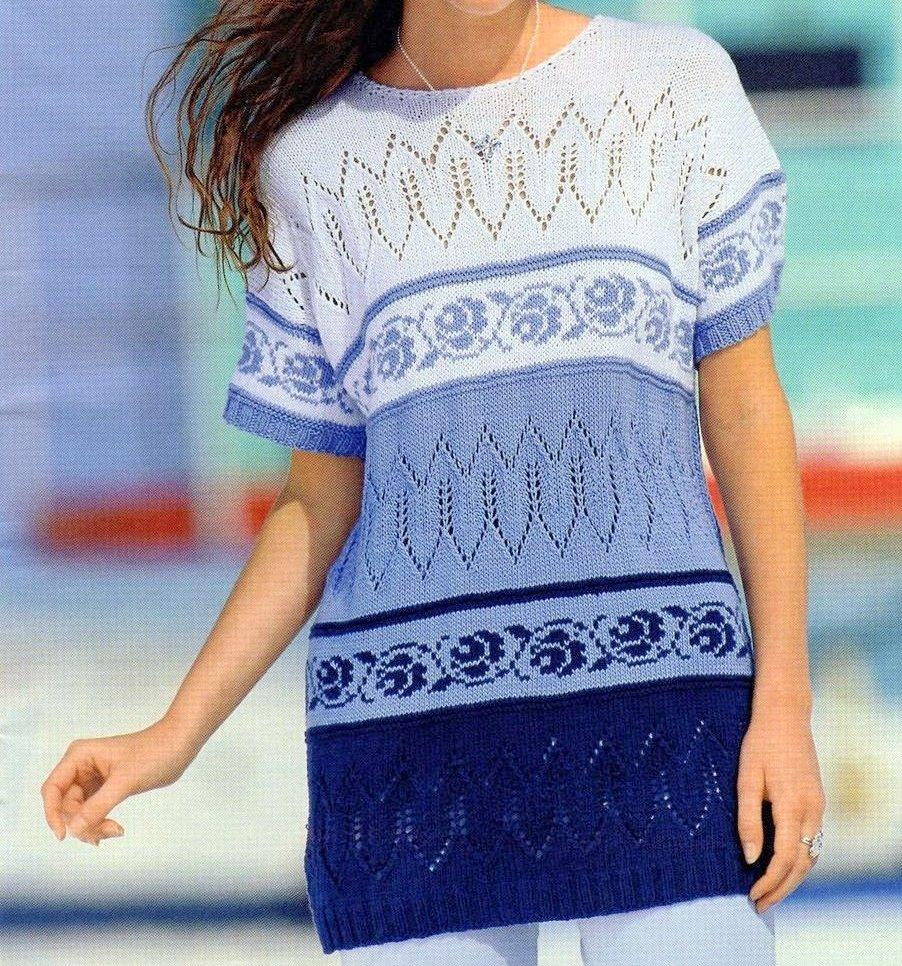 Lavori a maglia per creare un pullover con bordure jacquard