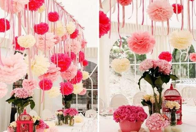 Decorazioni con pon pon e fiori