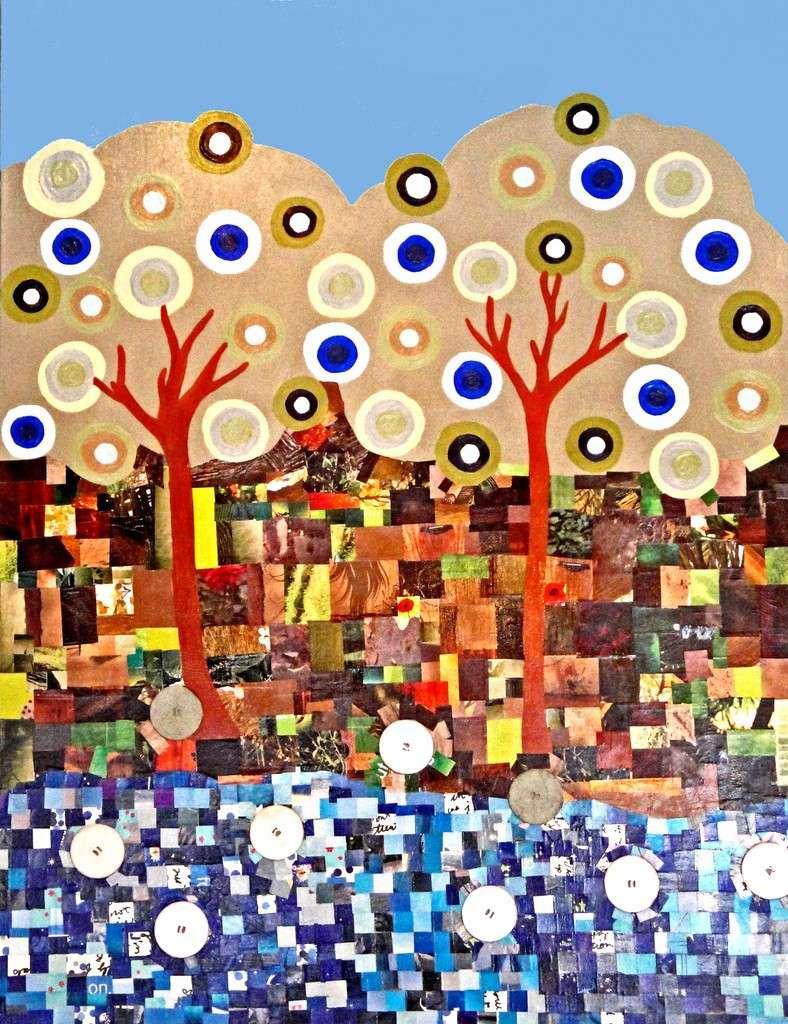 Paesaggio con materiale riciclato