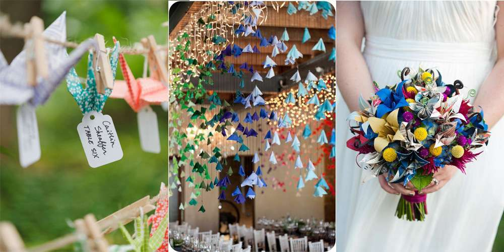 Decorazioni per le nozze con origami