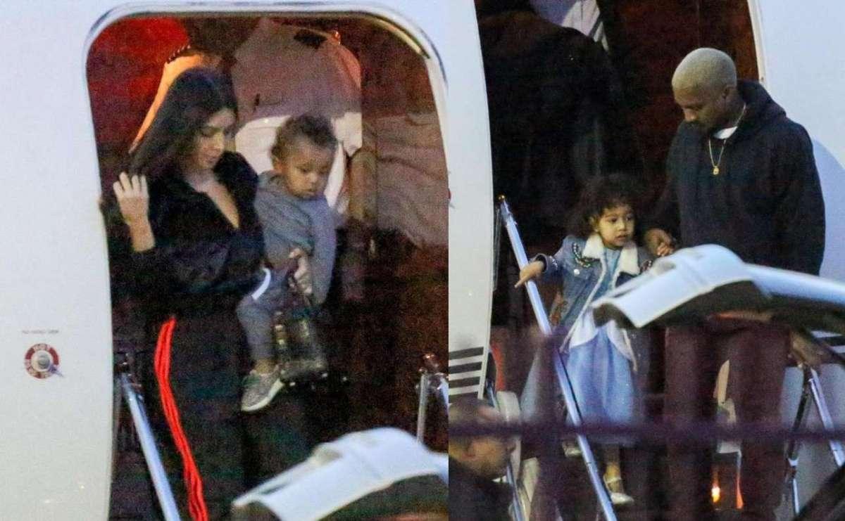 Kim Kardashian e Kanye West con i figli Saint e North