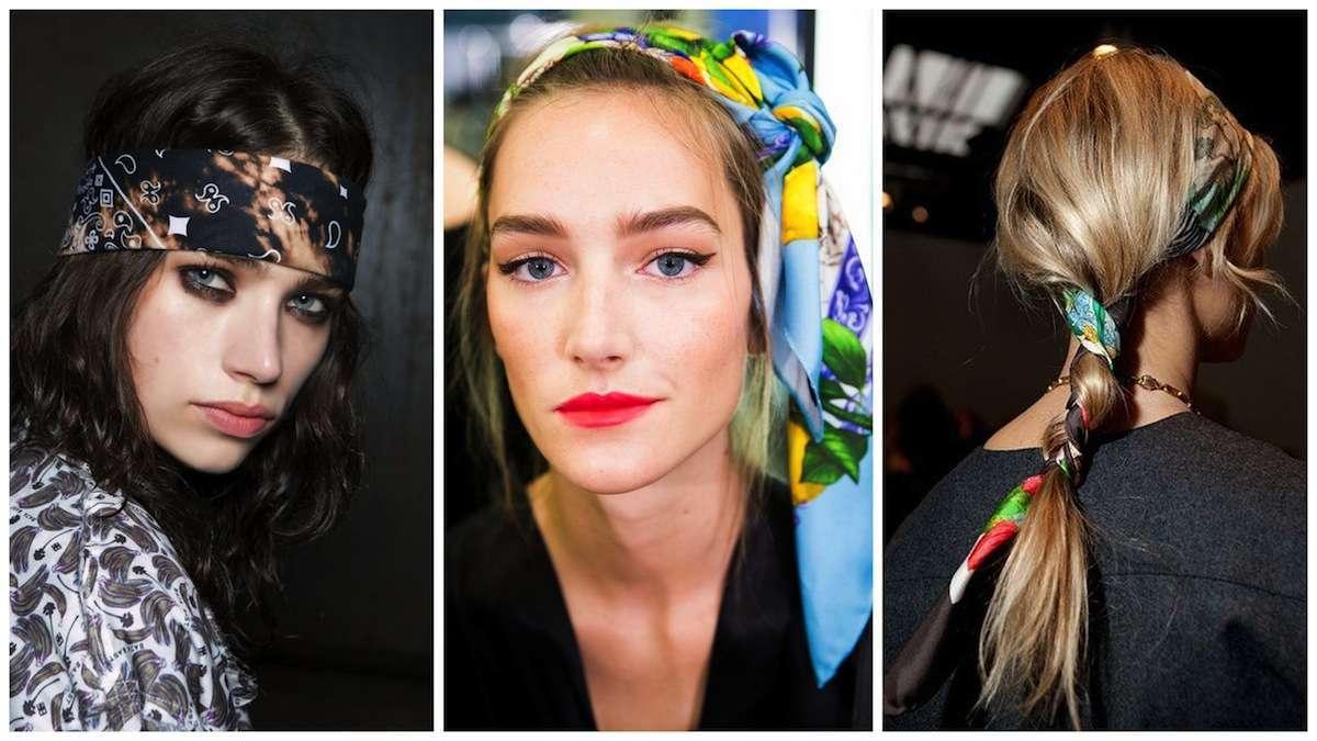 Le acconciature per capelli con fascia foulard e bandana per lestate