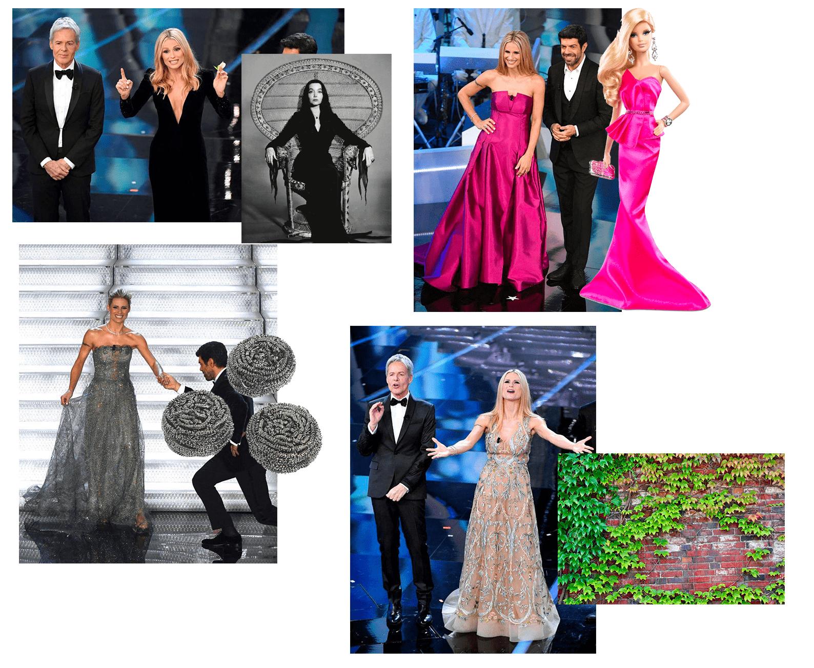 Michelle Hunziker e i look di Sanremo 2018: a chi o cosa assomiglia?
